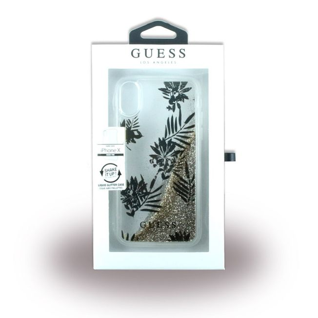Iphone X - Glitzer Case Guess Palm - Liquid gold