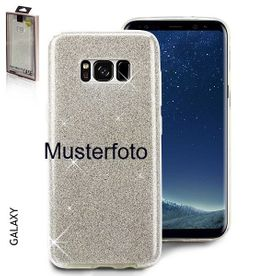 Samsung S10 Plus - Glitzer Cover 3in1 silber