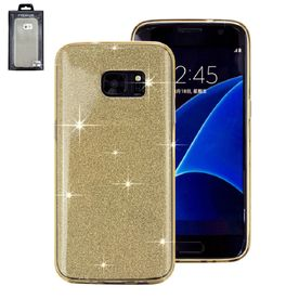 Samsung S7edge - Glitzercover gold